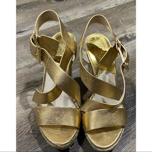 MICHAEL Michael Kors Gold Giovanna Wedge Sandal